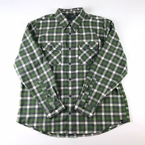 Woolrich-Green-Gray-Long-Sleeve-Button-Front-Flannel-Plaid-Check-Shirt-Mens-XL