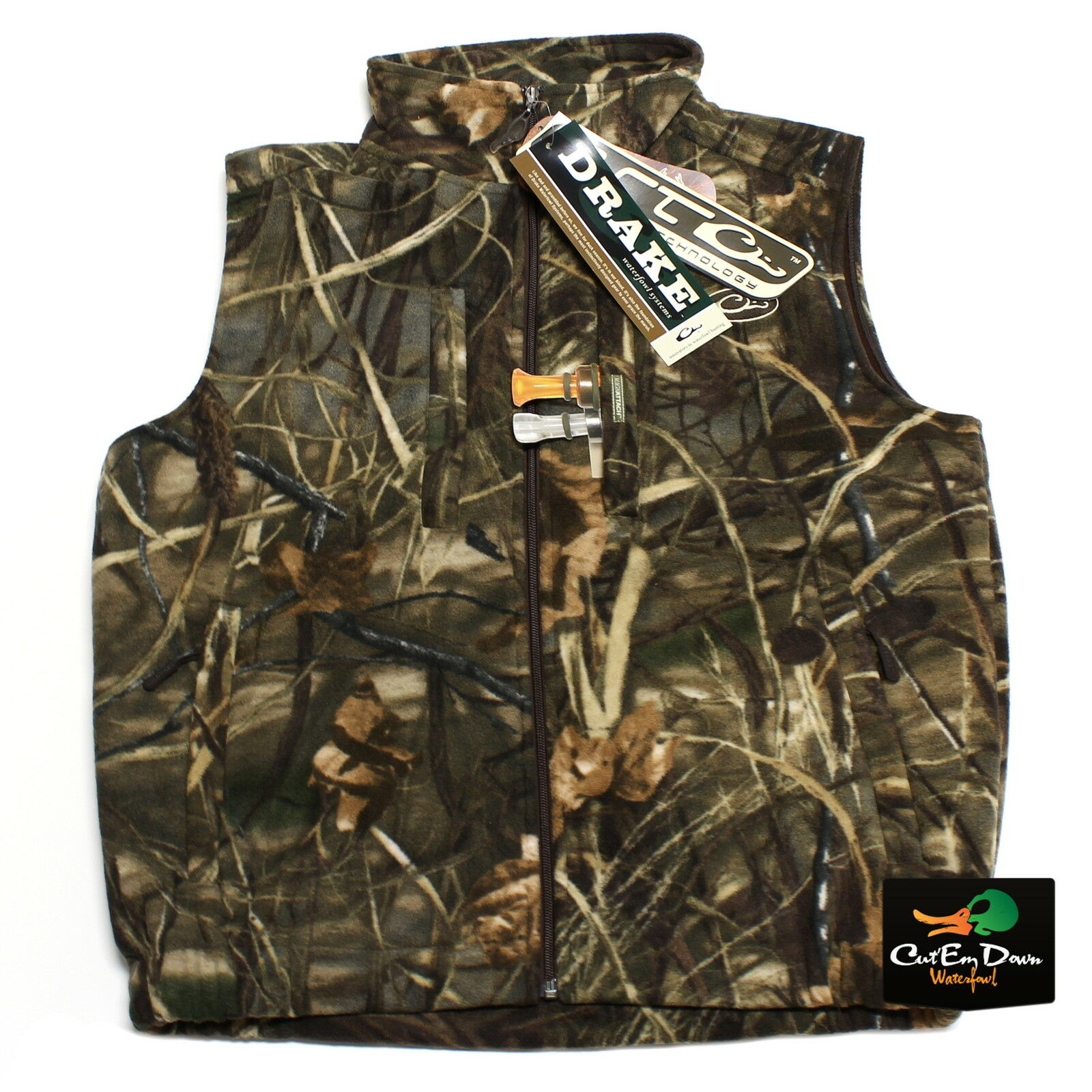 DRAKE WATERFOWL MST WINDPROOF LAYERING FLEECE VEST MAX4 CAMO MEDIUM