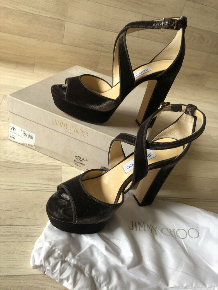 Trempé Jimmy Choo Avril 120 Talons Sandales Chaussures Plateformes Dark Minx Velours Uk6 Eu39