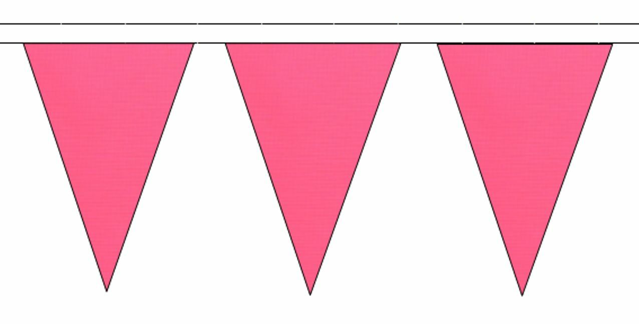 Plain rose Triangular Flag Bunting - 50m with 120 Flags