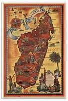 Big French Parisian Art Print Poster Map Africa's Madagascar Circa 1952 24x36