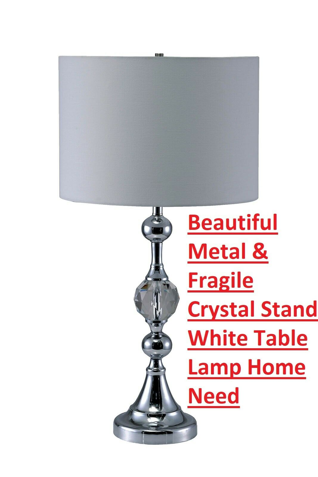 Beautiful Metal & Fragile Crystal Stand Weiß Table Lamp Home Need