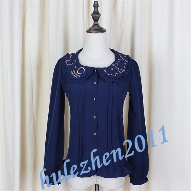 Lolita Kawaii Women Galaxy Constellatio Mori Girls Embroidery Star & Moon Shirts