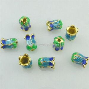 16240 3PC Copper Enamel Cloisonne Namaste Yoga Lotus 10mm Spacer Bead For Tassel