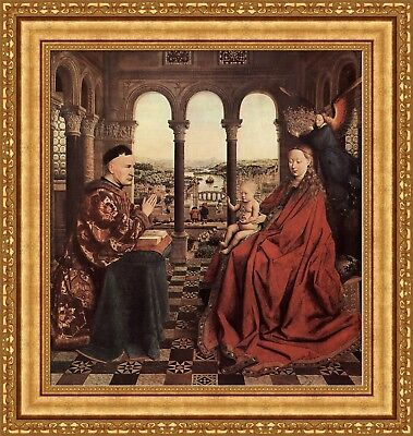 Jan Van Eyck Madonna With Child In Church Painting 11x17 Real Canvas Art Print