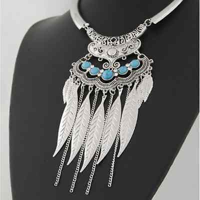 1X Luxury Women Chain Leaf Tassel Turquoise Pendent Alloy Choker Collar Necklace