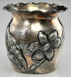 Image is loading ANTQ-Derby-Repousse-Quadruple-Silver-Plate-Toothpick-Holder - & ANTQ Derby Repousse Quadruple Silver Plate Toothpick Holder ...