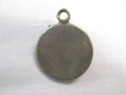 THE GRAYS ALIEN HEAD ROUND DISC PEWTER PENDANT NECKLACE VINTAGE HEAVY VISITOR