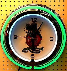 "15"" Rat Fink Sign Double Neon Clock"