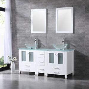 White 60 Bathroom Vanity Cabinet W Modern Double Glass Vessel Sink Combo New Ebay