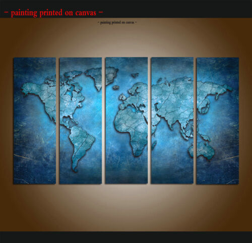 Framed Home Decor HD Prints Painting Wall Art World Map Blue Abstract on Canvas
