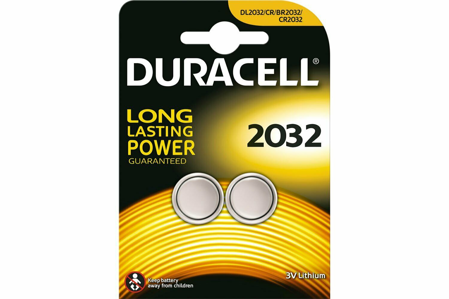 Duracell CR2032 Lithium Coin Cell Battery Card of 2