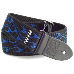 Dunlop-D38-11BL-2in-Classic-nylon-guitar-strap-Flambe-Blue-D-38