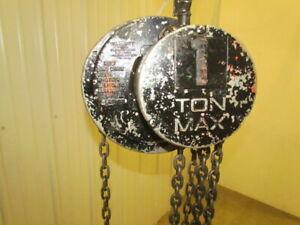 CM-Columbus-Mckinnon-1-Ton-Manual-Chain-Fall-Hoist-8-039-Lift-2000-LB-Capacity