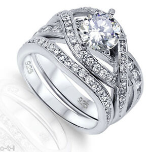 Infinity Celtic Rhodium Sterling Silver Engagement Ring Set Size 5