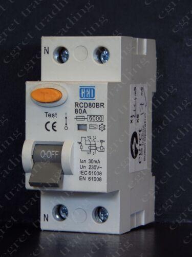 CED 80A 30mA 2 POLI RCCB RCD Interruttore Automatico RCD80BR-TESTATO