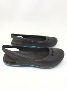 01ebf96a2 Image is loading Crocs-Womens-Slingback-Ballet-Flats-Shoes-Brown-Turquoise-