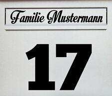 2-teiliges Aufkleber Set für Briefkasten Hausnummer Beschriftung Name Wunschtext
