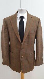 N45-Herren-Douglas-braun-rot-blau-gelb-kariert-Wolle-Tweed-Blazer-Jacke-UK-M-EU-48