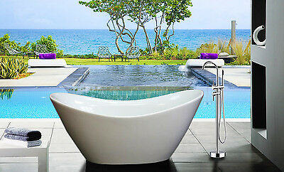 Soaking Bathtub & Tub Faucet Acrylic White Pedestal Bath Aromatherapy Spa Shower