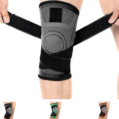 2X Knee Brace Support Compression Sleeve For Joint Pain Arthritis Relief Black