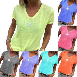 Plus-Size-Women-Short-Sleeve-V-Neck-T-Shirt-Top-Casual-Blouse-Baggy-Tee-Summer
