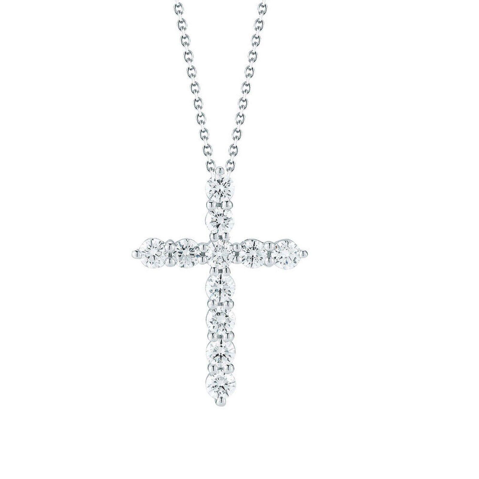 1.00 ctw Round Brilliant Diamond 14kt White gold Finish Cross Pendant Chain