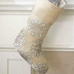 New Pottery Barn Gold Amp Silver Embroidered Snowflake