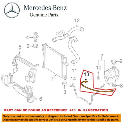 For Mercedes W211 E320 E350 Engine Coolant Expansion Tank Hose OES Breather Line