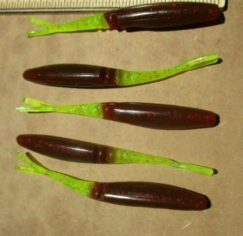 """25ct OXBLOOD CHARTREUSE Tail 3.5/""""Jointed FLUKES Bass Fishing Baits Walleye Lures"""
