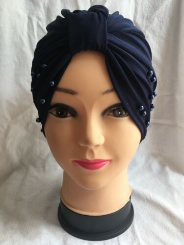 New Ladies Pearl Cap Chemo Bonnet Head Cover Polyester Many Colours Available