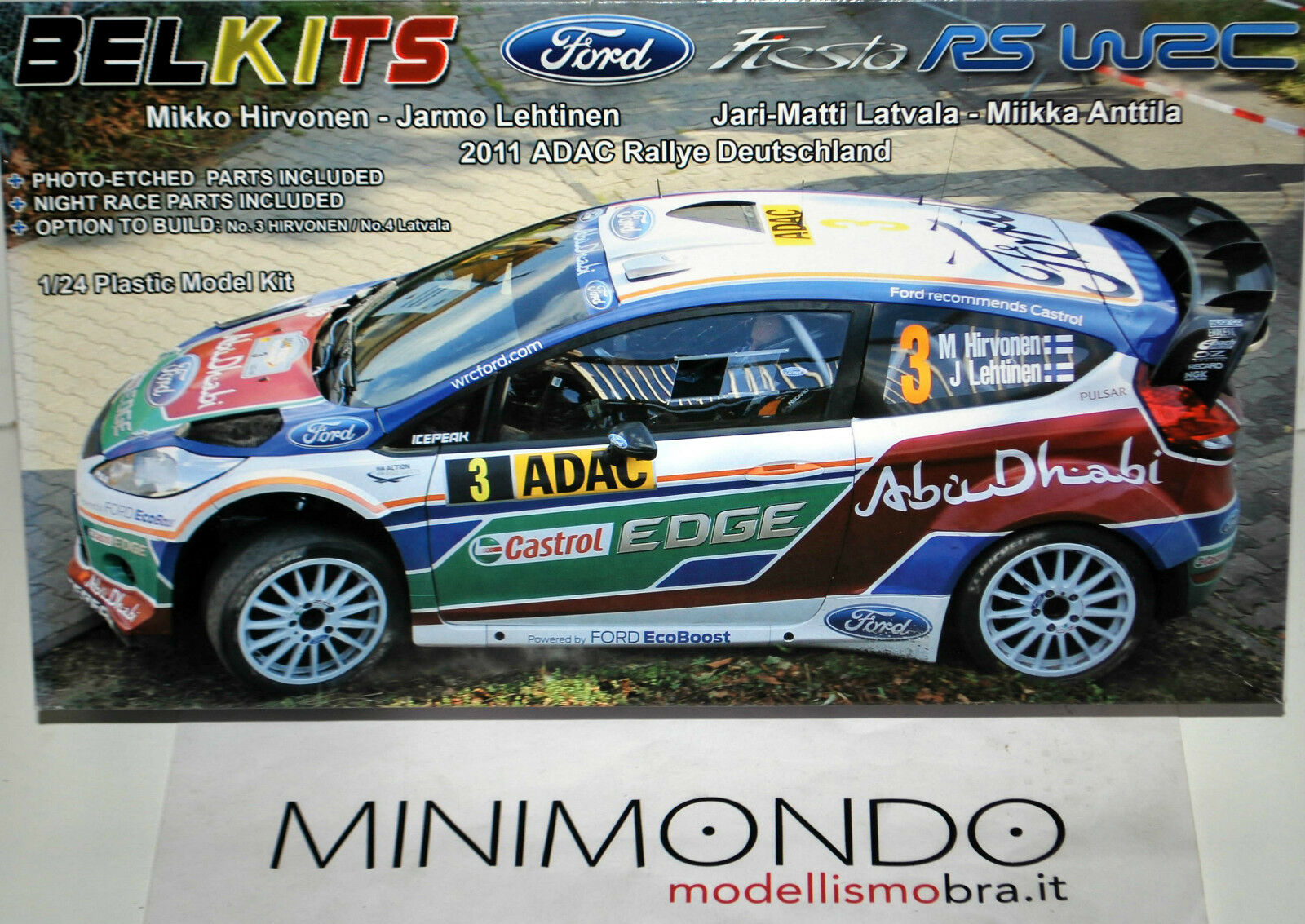 KIT FORD FIESTA RS WRC HIRVONEN LATVALA 2011 DEUTSCHLAND RALLY 1 24 BELKITS 003