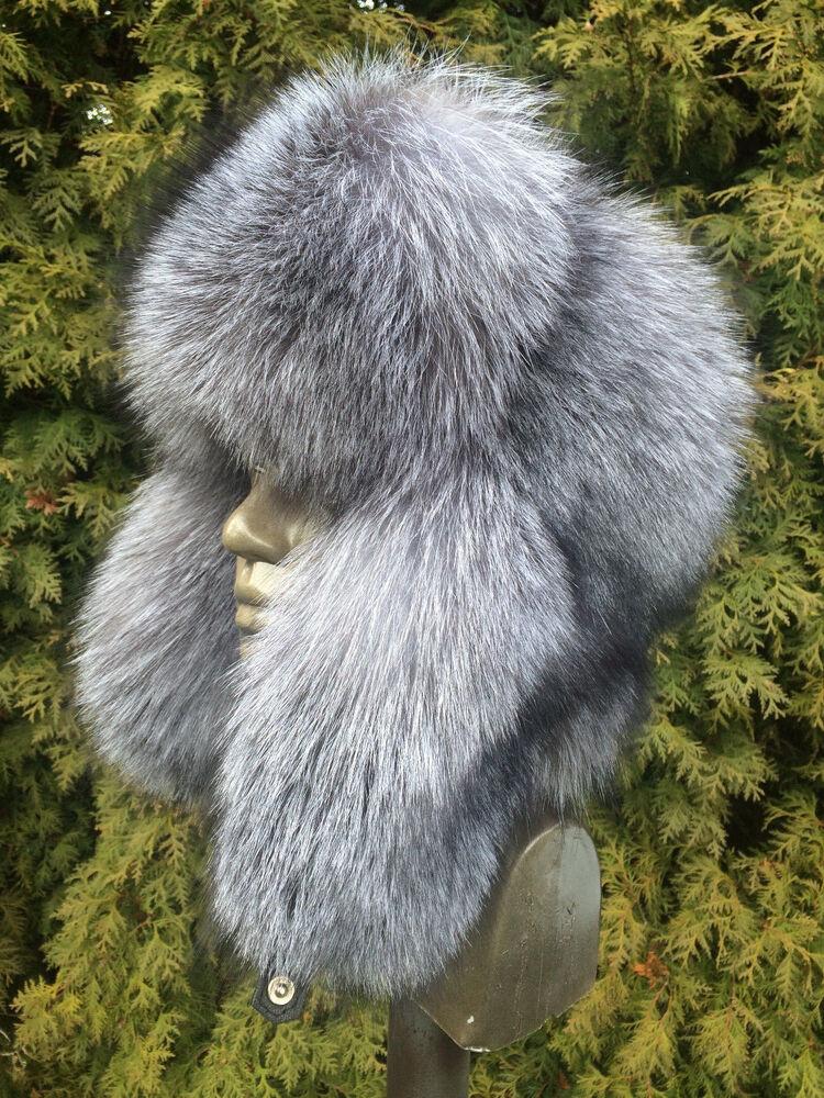 100% Vrai Saga Silver Blue Frost Fox Fourrure Chapeau Plein Pilote RafraîChissement