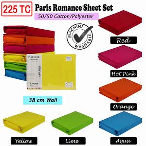 Paris-Romance-225TC-Thread-Count-Cotton-Polyester-Sheet-Set-5-Sizes-6-Colours