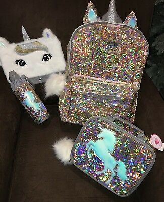 """JUSTICE """"I LOVE UNICORNS"""" LUNCHBOX IRIDESCENT SILVER SEQUINS POM POM WOW!!!"""