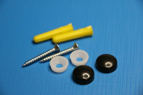 2x Sign Fixings with snap on Plastic Caps with screws and yellow wall plugs