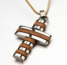 JSG108 Stainless Steel Walnut Wood Cross Pendant Necklace Leather Cord