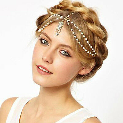 Gold Multi Pearl Chain Red Bead Crown Tikka Head Hair Cuff Headband Headpiece