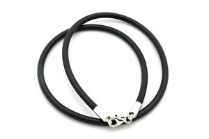 Mens-Ladies-3mm-Rubber-Bracelet-Double-Wrapped-Wristband-925-Sterling-Silver