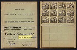 PARTI-SOCIALISTE-SFIO-MAISONS-ALFORT-1957-FEUILLE-DE-COTISATION-ref-6224m