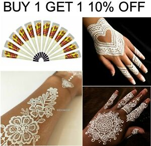 100 Pure White Instant Henna Mehandi Tattoo Bridal Gel Cones Best