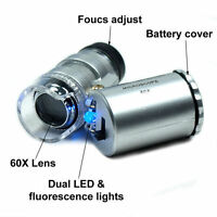 60x Mini Handheld LED Light Glass Pocket Microscope Jeweler Magnifier Lens Loupe