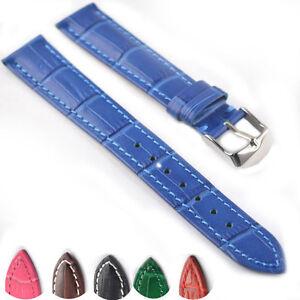Genuine-Leather-Watch-Band-Strap-Alligator-Grain-VIP-Stainless-Steel-Buckle-065