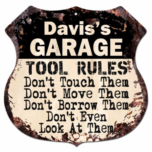 BPG0684 DAVIS/'S GARAGE TOOL RULES Shield Sign Man Cave Decor Funny Gift