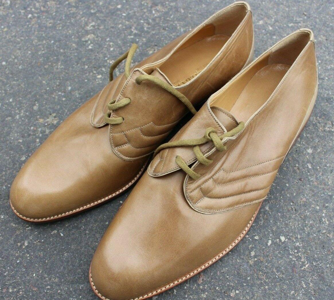 Zapatos De Vestir R. Ramano Martegani Boutique Italia Cuero 8.5 cacky Caqui Marrón