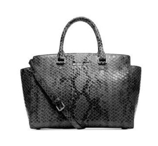c89bb6009e09 2pc Michael Kors Large Selma Snake Embossed Leather Satchel Bag Match Zip  Wallet for sale online | eBay