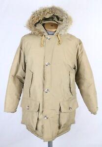 VTG-Woolrich-Goose-Down-Tan-Parka-Coat-Coyote-Fur-Trim-Sz-M