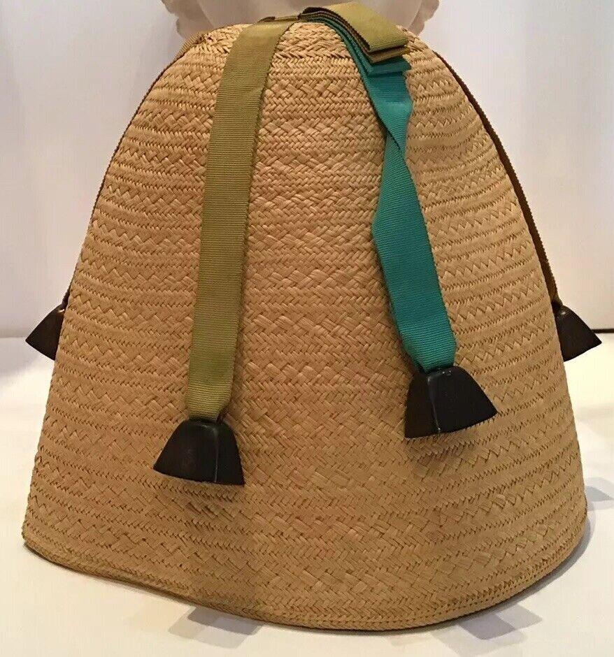 Vintage 40's 50's Straw Hat Novelty Fez High Crown Gobbi