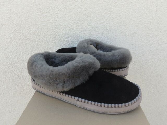 UGG WRIN BLACK SUEDE/ SHEEPSKIN CUFF SLIPPERS, WOMEN US 11/ EUR 42 ~NIB