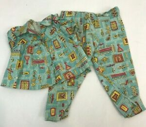 Vintage-Doll-Clothes-Pajamas-2-Piece-Atomic-1950s-Blue-Yellow-Red-Top-Pants